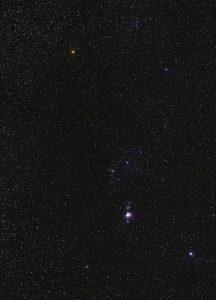 Constelación de Orión vista desde el Hemisferio Sur