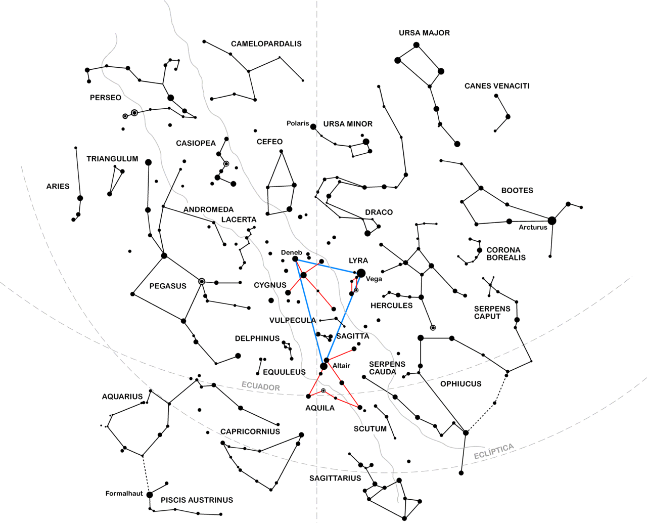 Aspecto del firmamento durante agosto, con el Triángulo de verano/ Wikipedia